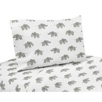 Sweet Jojo Designs Grey and White 4-piece Queen Sheet Set for Blush Pink Watercolor Elephant Safari Collection