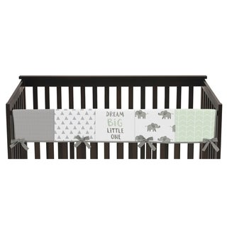 Sweet Jojo Designs Mint, Grey and White Watercolor Elephant Safari Collection Long Crib Rail Guard Cover