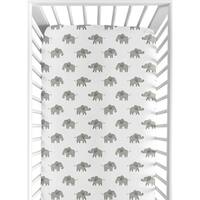 Sweet Jojo Designs Grey and White Fitted Crib Sheet for Blush Pink Watercolor Elephant Safari Collection