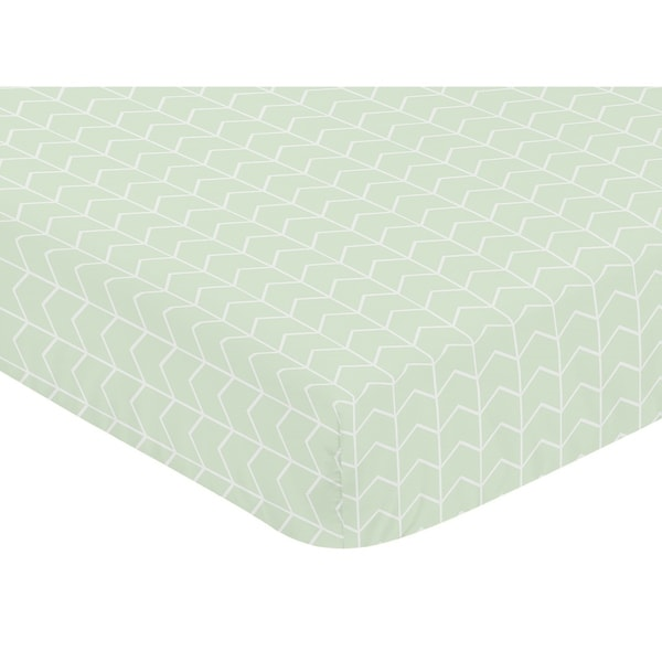 Sweet Jojo Designs Mint and White Chevron Arrow Watercolor Elephant Safari Collection Fitted Crib Sheet