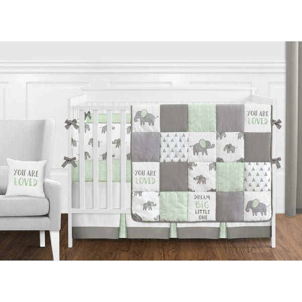 Sweet Jojo Designs Mint, Grey and White Watercolor Elephant Safari Collection Unisex 9-piece Crib Bedding Set
