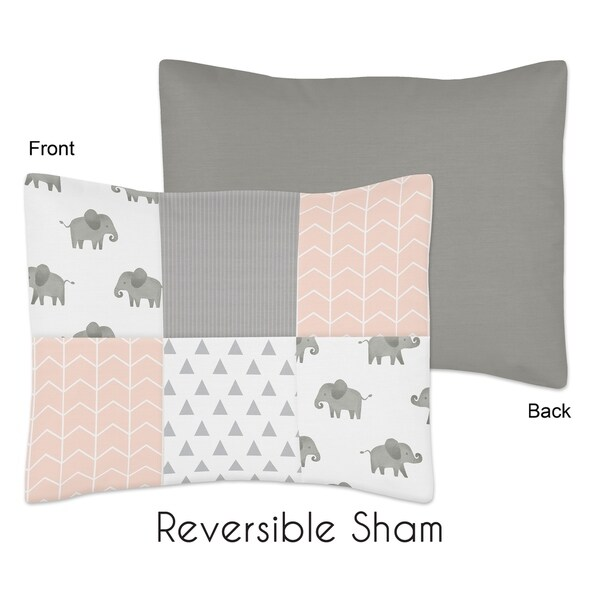 Sweet Jojo Designs Blush Pink, Grey and White Watercolor Elephant Safari Collection Standard Pillow Sham