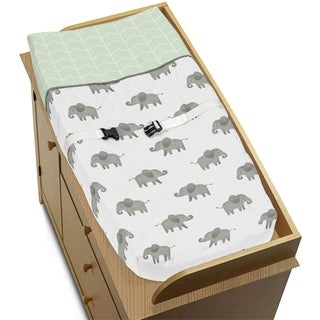 Sweet Jojo Designs Mint, Grey and White Watercolor Elephant Safari Collection Changing Pad Cover