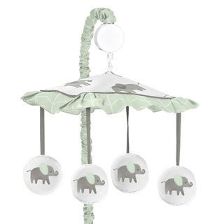 Sweet Jojo Designs Mint, Grey and White Watercolor Elephant Safari Collection Musical Crib Mobile