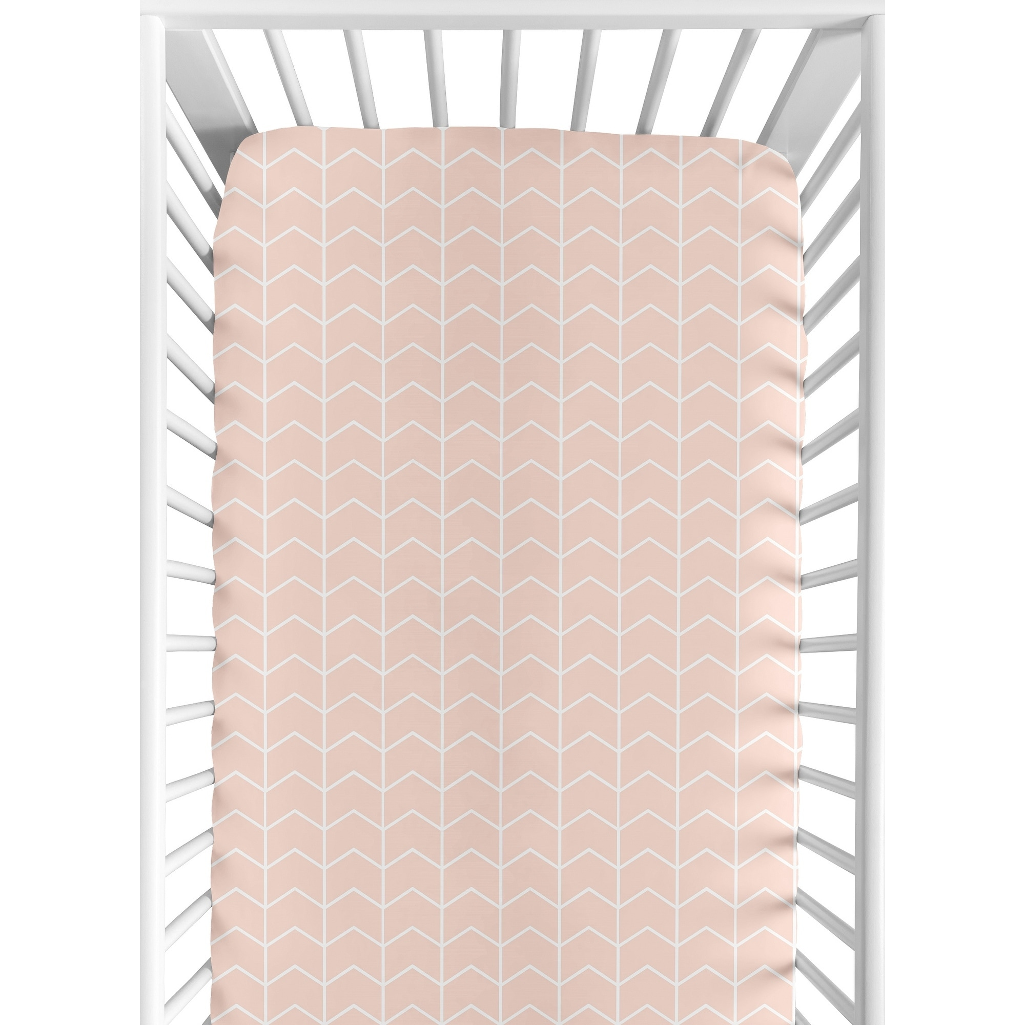 Sweet Jojo Designs Blush Pink And White Chevron Arrow Watercolor Elephant Safari Collection Fitted Crib Sheet Overstock 23573331