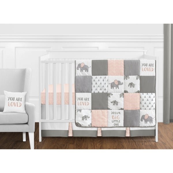 Sweet Jojo Designs Blush Pink, Grey and White Watercolor Elephant Safari Collection Girl 11-piece Crib Bedding Set
