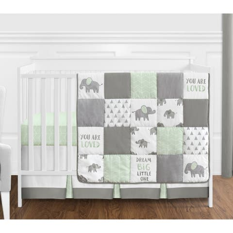 Sweet Jojo Designs Mint, Grey and White Watercolor Elephant Safari Collection Unisex 4-piece Crib Bedding Set