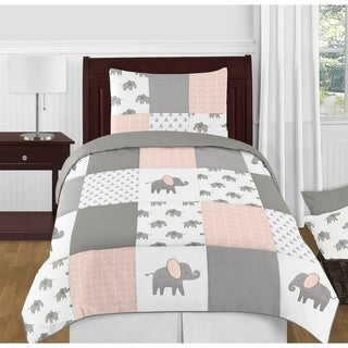 Sweet Jojo Designs Blush Pink, Grey and White Watercolor Elephant Safari Collection Girl 4-piece Twin-size Comforter Set