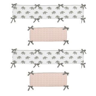 Sweet Jojo Designs Blush Pink, Grey and White Watercolor Elephant Safari Collection Baby Crib Bumper Pad