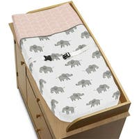 Sweet Jojo Designs Blush Pink, Grey and White Watercolor Elephant Safari Collection Changing Pad Cover