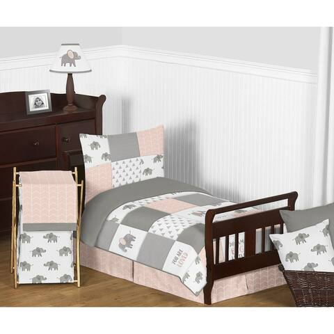 Sweet Jojo Designs Blush Pink, Grey White Watercolor Elephant Safari Collection Girl 5-piece Toddler-size Comforter Set