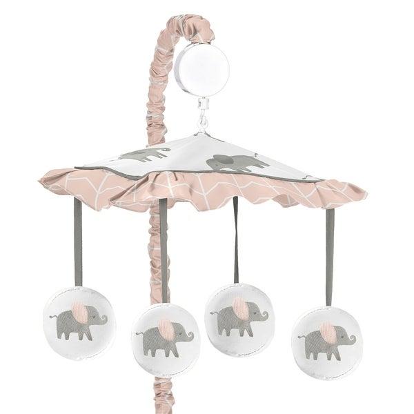Sweet Jojo Designs Blush Pink, Grey and White Watercolor Elephant Safari Collection Musical Crib Mobile