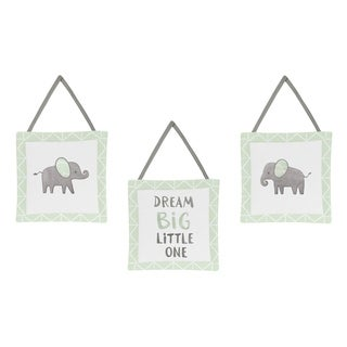 Sweet Jojo Designs Mint, Grey and White Watercolor Elephant Safari Collection Wall Hangings (Set of 3)