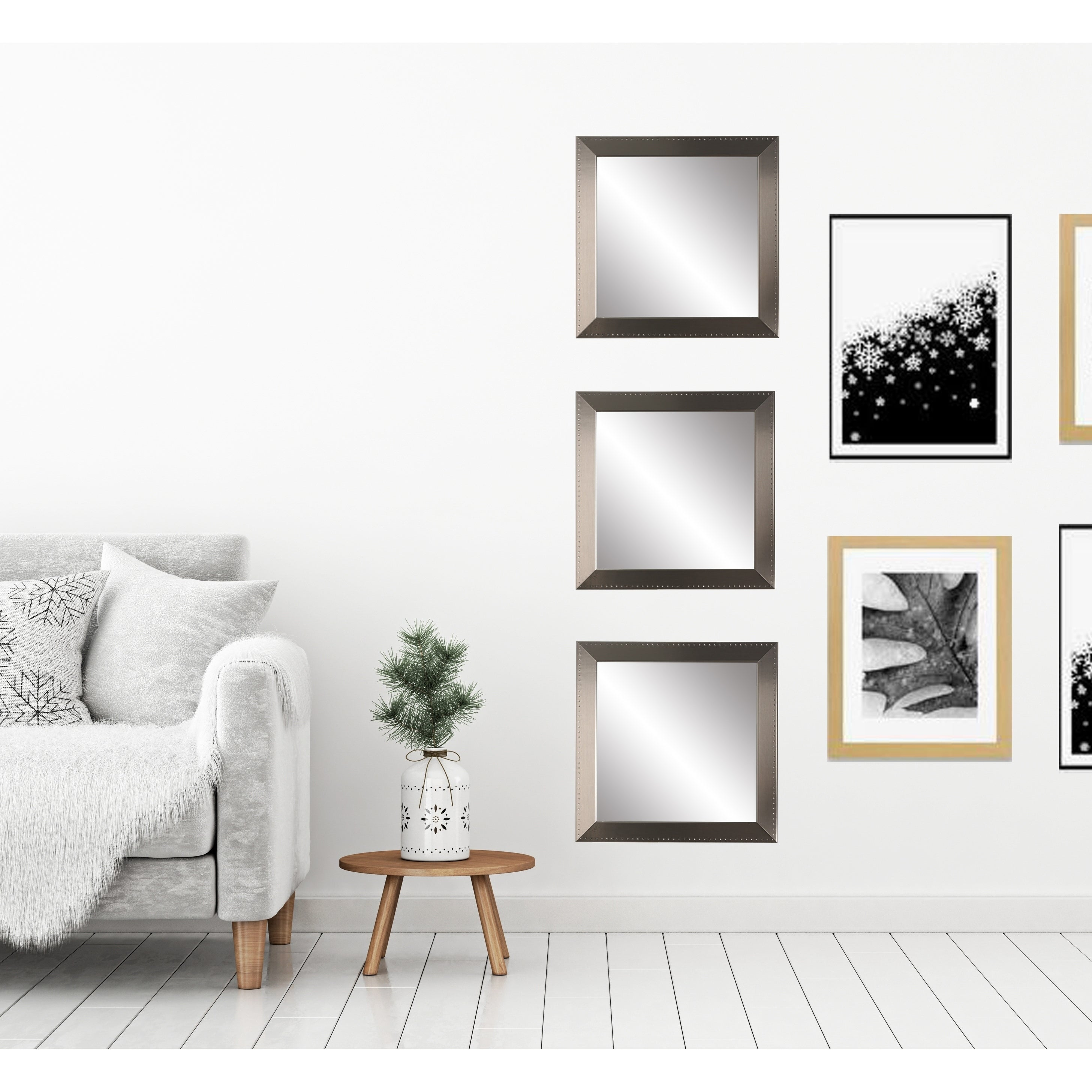 Silver Framed 3 Piece Square Wall Mirror Set On Sale Overstock 23573487