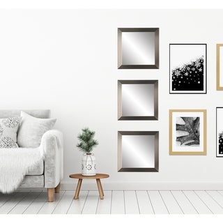 Silver-framed 3-piece Square Wall Mirror Set