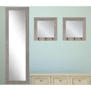 3 Piece Farmhouse Barnwood Mirror Set - Farmhouse Gray