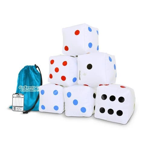 """GoSports 6 Pack Giant Inflatable Dice 6 Pack with Tote Bag 6"""" Size - White"""