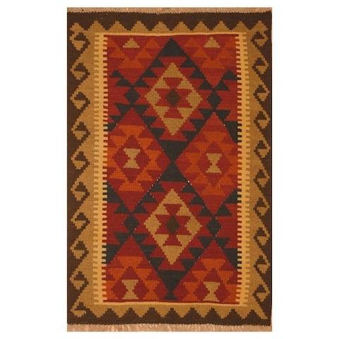 Handmade One-of-a-Kind Mimana Wool Kilim (Afghanistan) - 2' x 3'