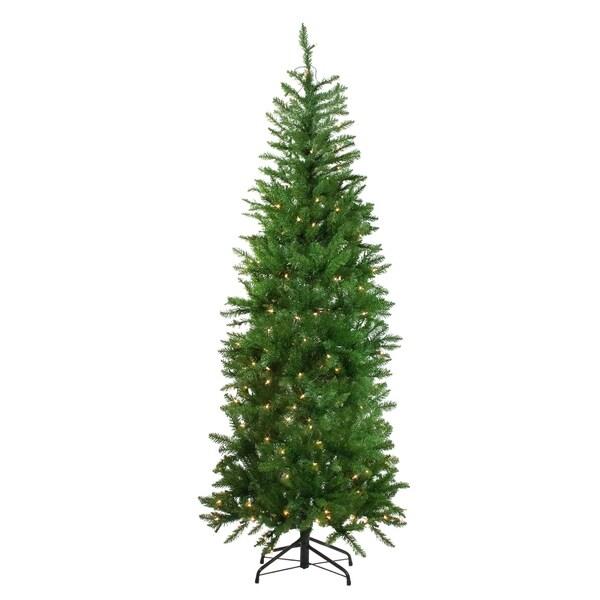 "White Fir Christmas Tree: Shop 6.5' X 28"" Pre-Lit White River Fir Artificial Pencil"