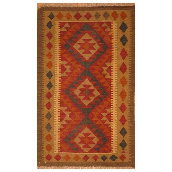 Handmade Mimana Wool Kilim (Afghanistan) - 2'8 x 4'2