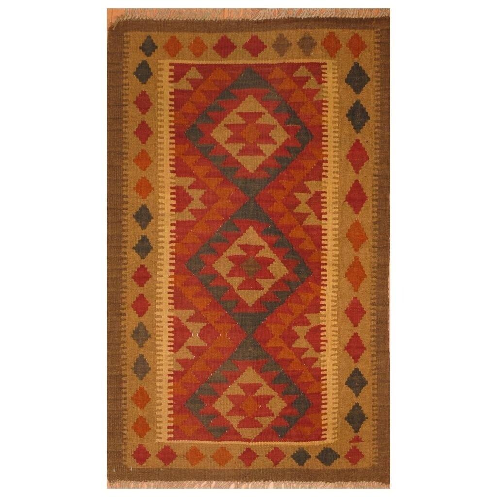 Handmade Herat Oriental Afghan Hand-woven Mimana Wool Kilim (28 x 42)