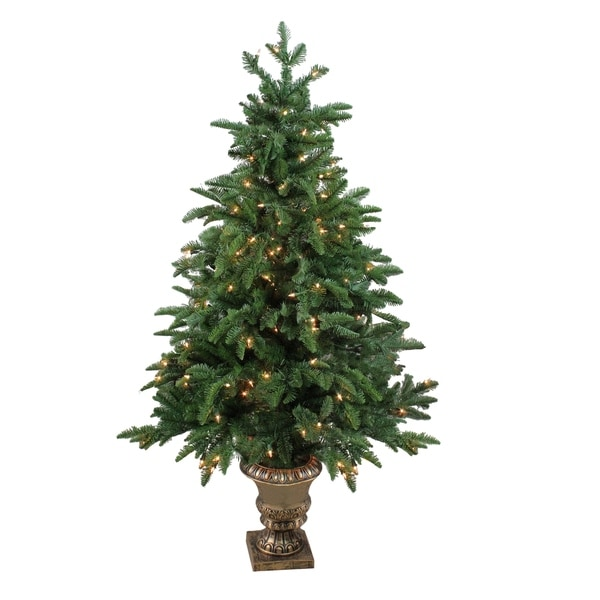 Potted Christmas Tree.4 5 Pre Lit Artificial Sierra Norway Spruce Potted Christmas Tree