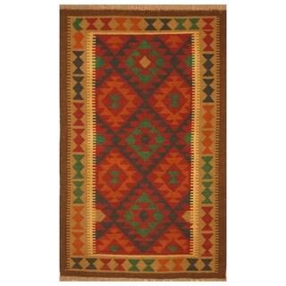 Handmade Herat Oriental Afghan Hand-woven Mimana Wool Kilim (2'7 x 4'2)