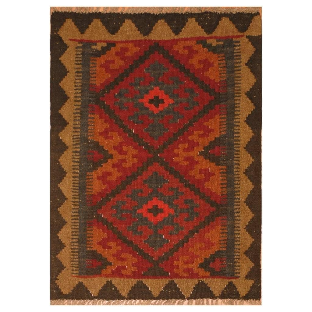 Handmade Herat Oriental Afghan Hand-woven Mimana Wool Kilim (26 x 32)