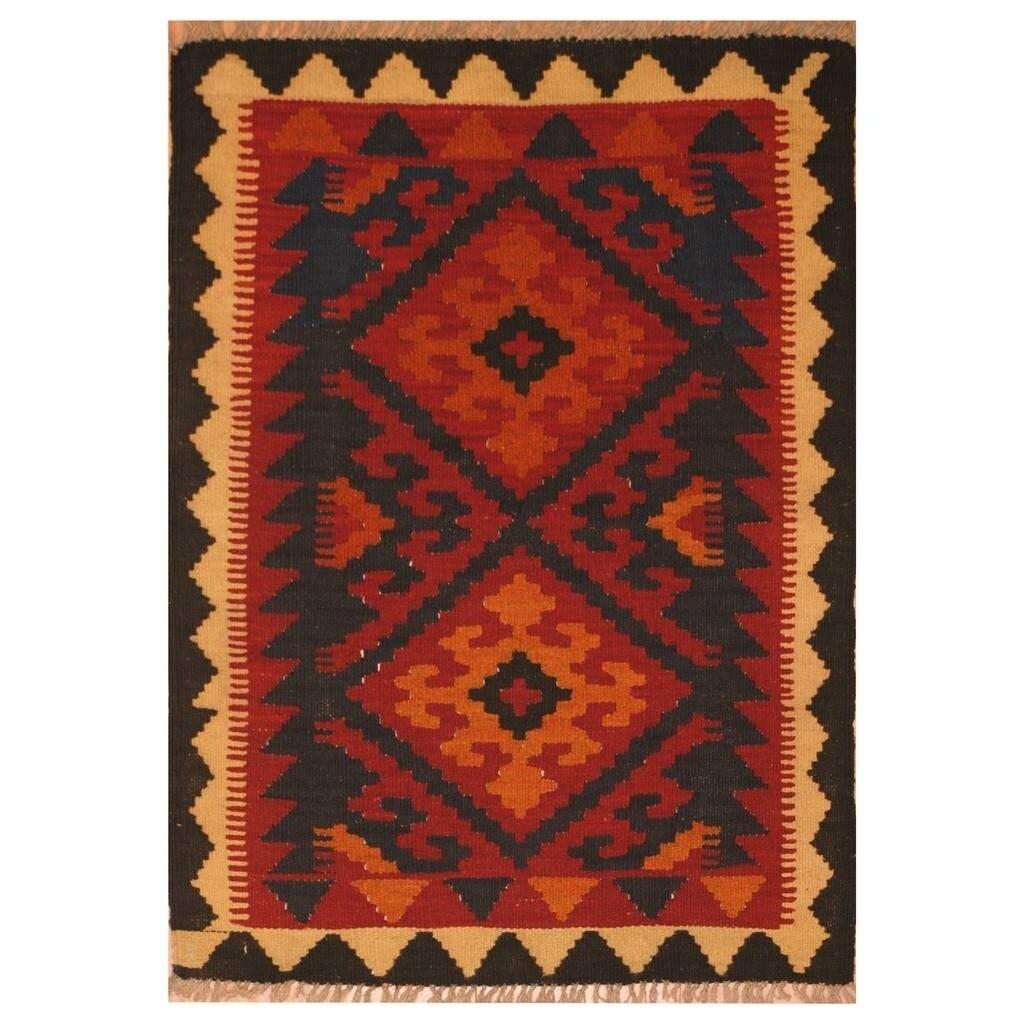 Handmade Herat Oriental Afghan Hand-woven Mimana Wool Kilim (26 x 34) (Red)