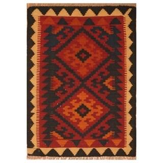 Handmade Herat Oriental Afghan Hand-woven Mimana Wool Kilim (2'6 x 3'4)