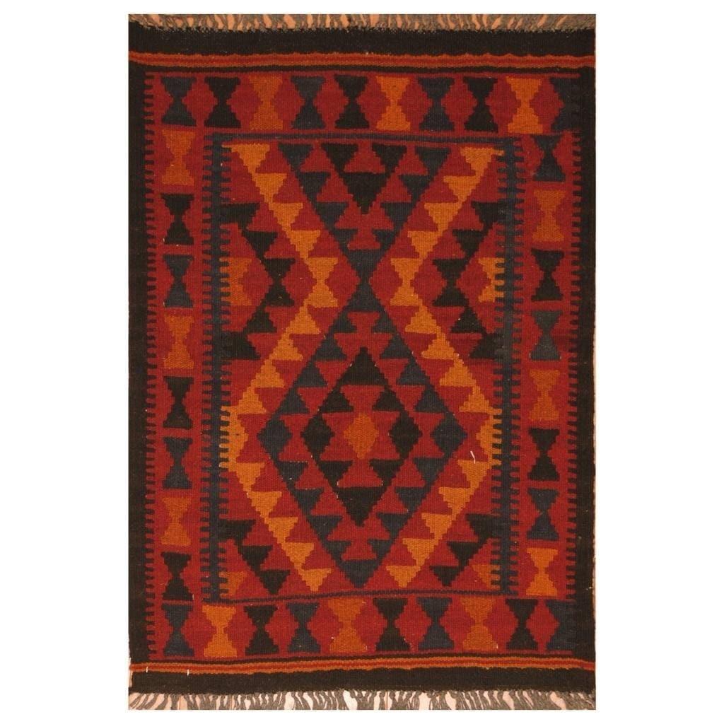 Handmade Herat Oriental Afghan Hand-woven Mimana Wool Kilim (23 x 32)