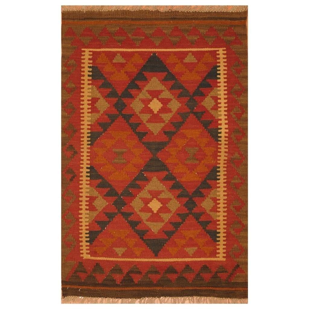 Handmade Herat Oriental Afghan Hand-woven Mimana Wool Kilim (28 x 41)