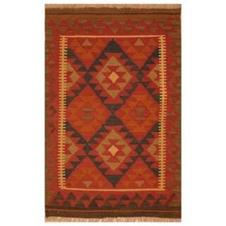 Handmade Herat Oriental Afghan Hand-woven Mimana Wool Kilim (2'8 x 4'1)