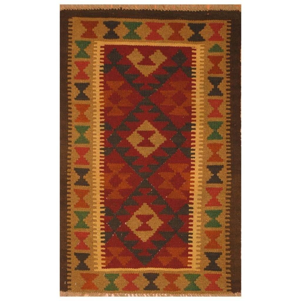 Handmade Herat Oriental Afghan Hand-woven Mimana Wool Kilim (28 x 4)