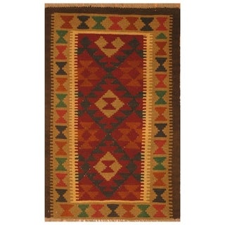 Handmade Herat Oriental Afghan Hand-woven Mimana Wool Kilim (2'8 x 4')