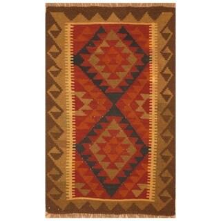 Handmade Herat Oriental Afghan Hand-woven Mimana Wool Kilim (2'7 x 4')