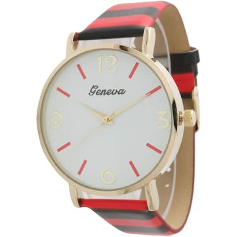 Olivia Pratt Colorful Stripes Leather Watch