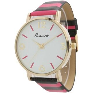 Olivia Pratt Colorful Stripes Leather Watch - N/A