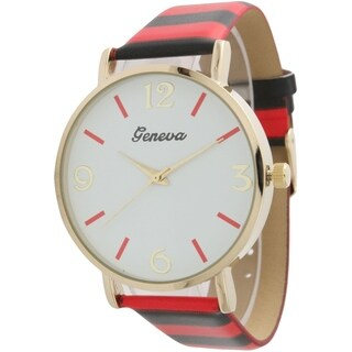 Olivia Pratt Colorful Stripes Leather Watch