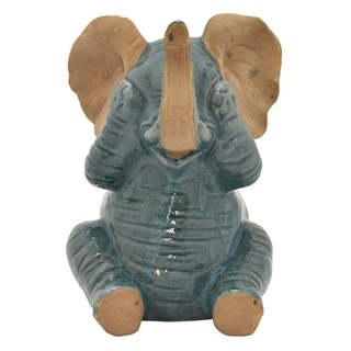 """8.5 """" Porcelain-Ceramic Three Hands Ceramic Elephant Finished in Green"""