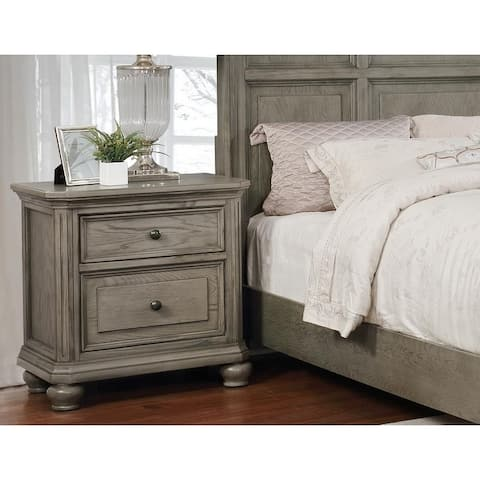 Best Master Furniture Antique Grey Pinewood 2-drawer Nightstand
