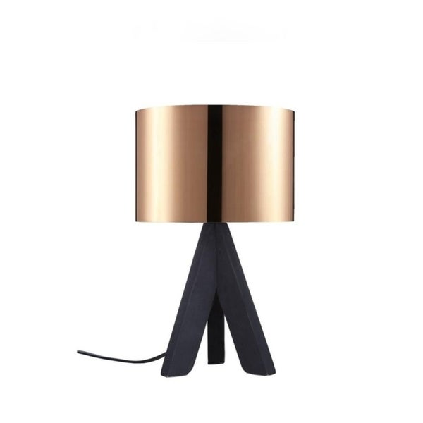 """Euro Style Collection Askos 12"""" Mini Table Lamp-Copper (Wood Legs). Opens flyout."""