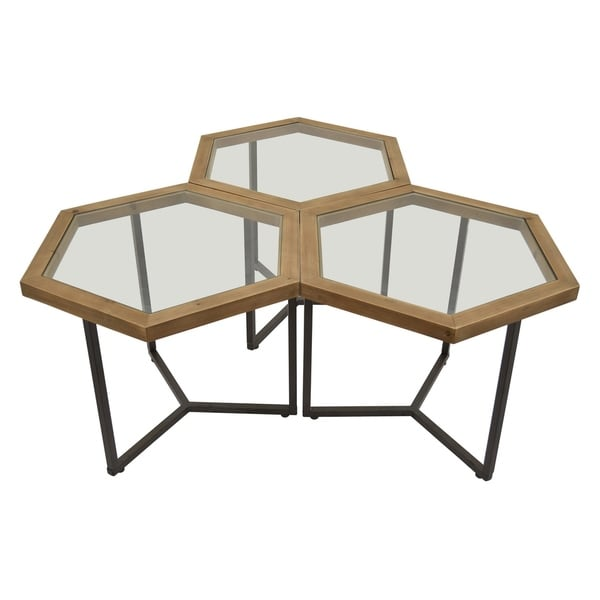 "20 "" Metal Three Hands Set Of Three Metal Accent Tables Finished in Brown"