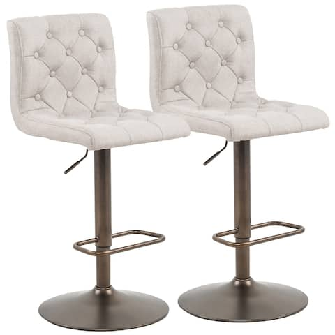 Adjustable Height Button Tufted Fabric Stool - Set of 2