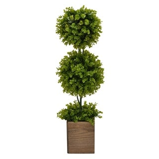 """31 """" Wood Three Hands Faux Topiary Pot Finished in Green"""