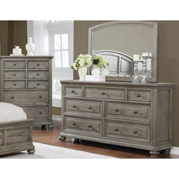 Best Master Furniture Antique Grey Wood/Veneer Dresser And Mirror Set