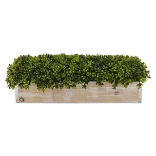 """10 """" Wood Three Hands Faux Topiary Pot Finished in Green"""