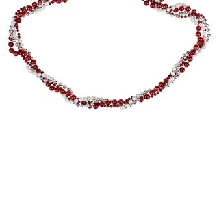 8' Shiny Metallic Red White and Silver Twisted Bead Christmas Garland