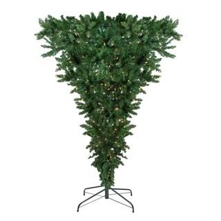 "7.5' x 60"" Pre-Lit Upside Down Spruce Xmas Tree - Clear Lights"