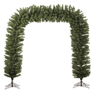 9' x 8' Huge Pre-Lit Green Pine Xmas Archway Decoration - Clear Lights